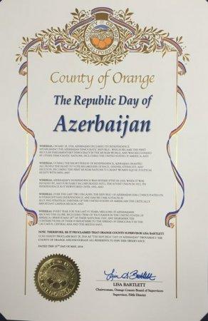 В Калифорнии 28 мая объявлено «Национальным днем Азербайджана»